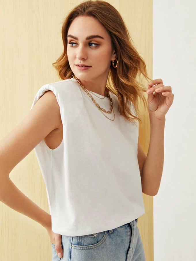 Kathy Padded Shoulder Top-White 1