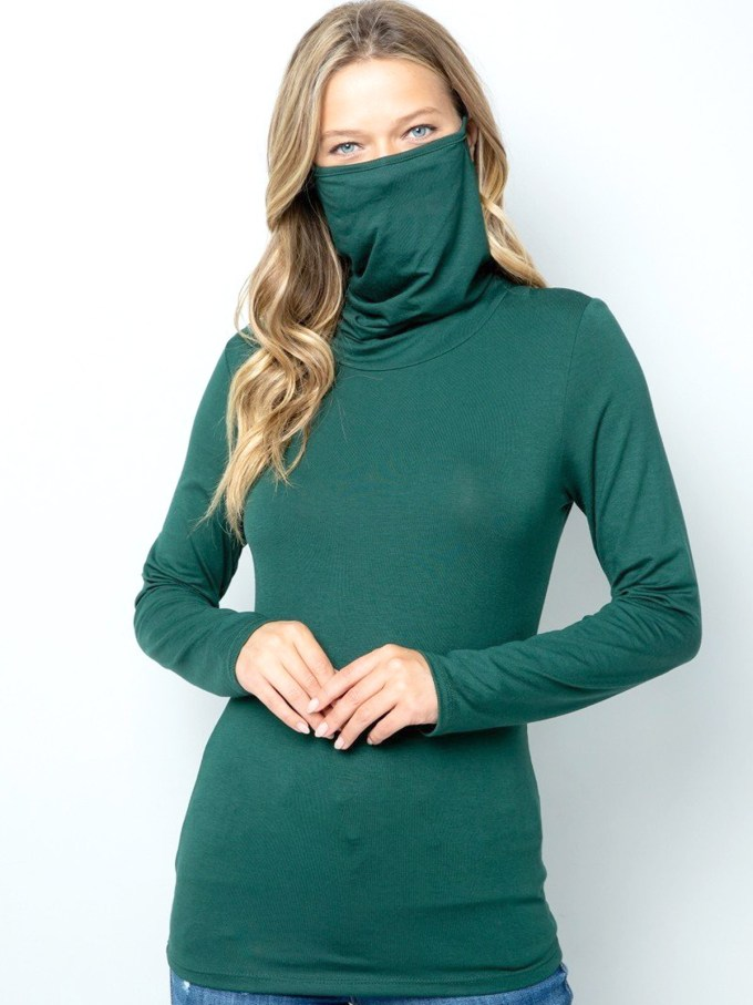 Turtle Neck Face Mask - Green 1