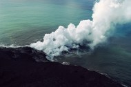 lava + sea = lots of steam