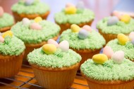 Easter Egg Cupcakes with Grass and Cadbury Eggs