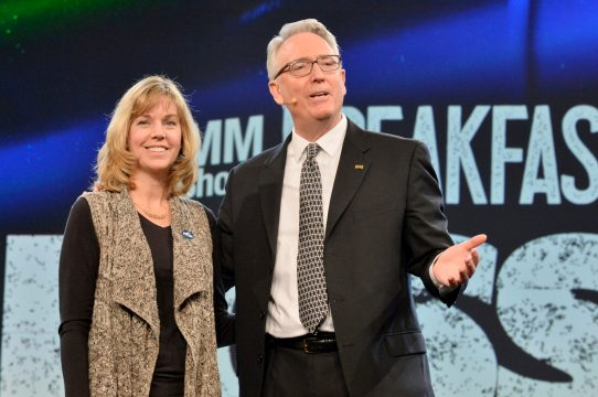 ANAHEIM, CALIFORNIA - JANUARY 16: Whitney Brown Grisaffi and Joe Lamond, President and CEO of NAMM speaks onstage at The 2020 NAMM Show Opening Day on January 16, 2020 in Anaheim, California. (Photo by Jerod Harris/Getty Images for NAMM)