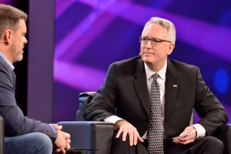 ANAHEIM, CALIFORNIA - JANUARY 16: Bryan Bradley and Joe Lamond, President and CEO of NAMM speak onstage at The 2020 NAMM Show Opening Day on January 16, 2020 in Anaheim, California. (Photo by Jerod Harris/Getty Images for NAMM)