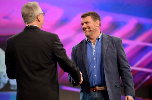 ANAHEIM, CALIFORNIA - JANUARY 16: Joe Lamond, President and CEO of NAMM and Bryan Bradley speak onstage at The 2020 NAMM Show Opening Day on January 16, 2020 in Anaheim, California. (Photo by Jerod Harris/Getty Images for NAMM)