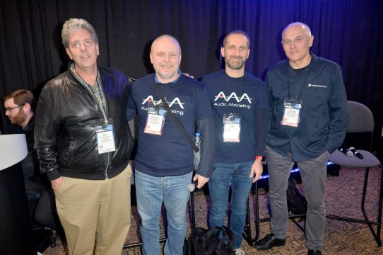 ANAHEIM, CALIFORNIA - JANUARY 16: Gregory Scandalis, Emanuele Parravicini, Stefano Lucato and Stephan Schmitt attend The 2020 NAMM Show Opening Day on January 16, 2020 in Anaheim, California. (Photo by Jerod Harris/Getty Images for NAMM)