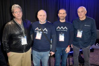 ANAHEIM, CALIFORNIA - JANUARY 16: Gregory Scandalis, Stefano Lucato, Emanuele Parravicini, and Stephan Schmitt attend The 2020 NAMM Show Opening Day on January 16, 2020 in Anaheim, California. (Photo by Jerod Harris/Getty Images for NAMM)