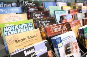 ANAHEIM, CALIFORNIA - JANUARY 18: Music books on display at The 2020 NAMM Show on January 18, 2020 in Anaheim, California. (Photo by Jesse Grant/Getty Images for NAMM)