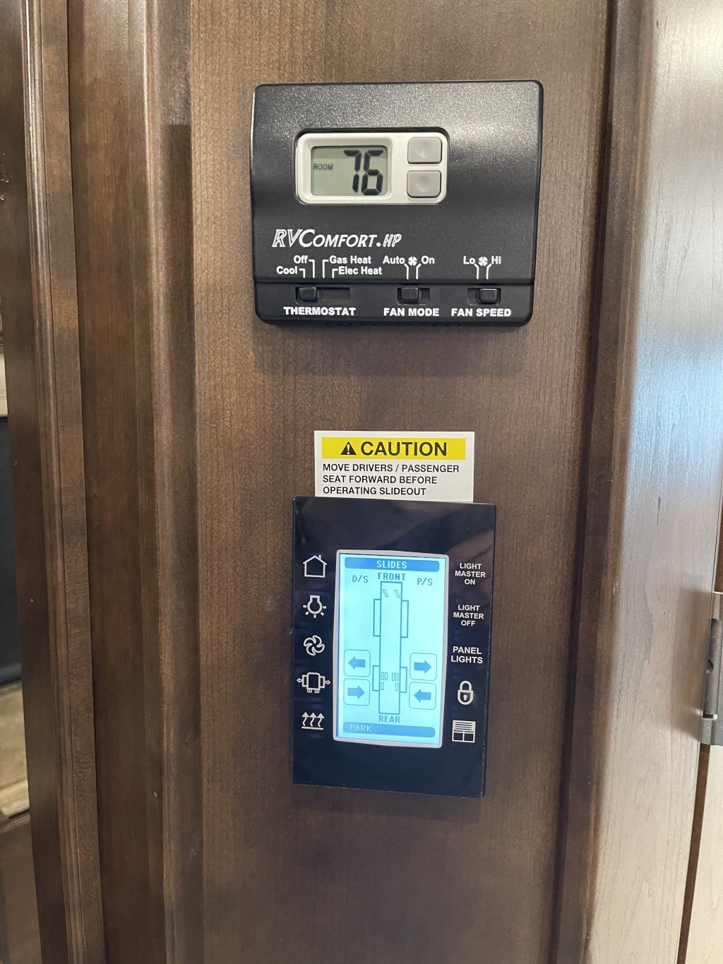 Bedroom thermostat and control panel