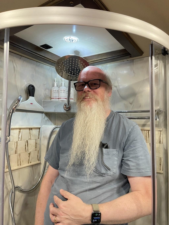 David in shower