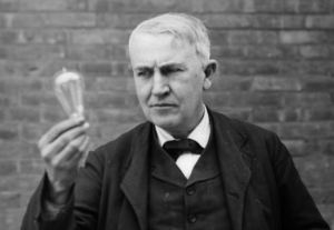 Thoms Edison with his lightbulb