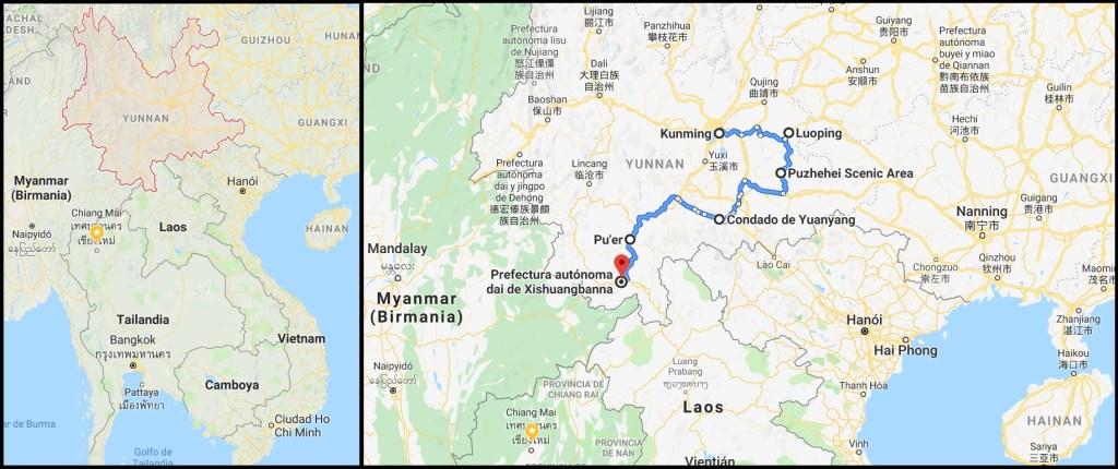 Mapa Yunnan Ruta Naturaleza 1024x430 - Viaje a Yunnan: ¡12 días por China con todo incluido!