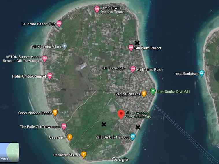 Gili Trawangan Mapa con indicaciones 1024x766 - Relato de mi experiencia vivida en el terremoto de Lombok de 6.9 ocurrido en 2018