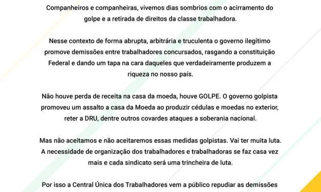 Nota da CUT-RIO sobre as demissões na Casa da Moeda