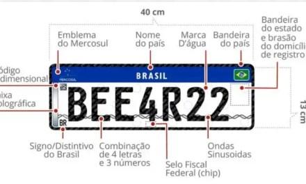Veículos terão placas no padrão Mercosul a partir de dezembro