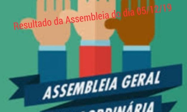 Resultado da Assembleia geral extraordinária do dia 05/12/2019