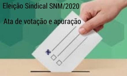 ELEIÇÕES SINDICAIS – TRIÊNIO 2020/2023, ATA GERAL DE APURAÇÃO