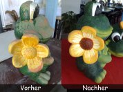 Froesche-Vorher-Nachher Froschfigur fuer den Garten