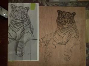 brandmaler arbeit tiger