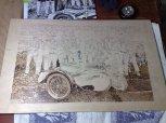 Motorrad Charon 1982 in Holz gebrannt