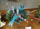 weihnachtlicheTischdeko in Blau mit Libellen 25cm Ø