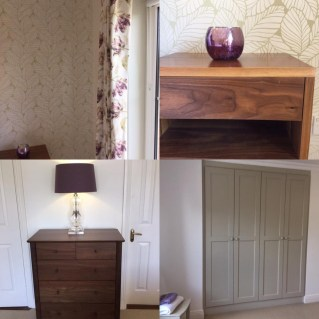 Bedroom redesign- components, colours, fabrics, floating locker