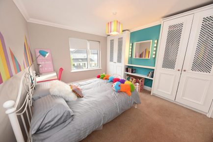 Childs bedroom design with feature colour surfer blue