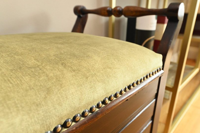 Piano stool upholstered in textured green velvet - Sinead Cassidy Design