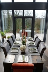 Upholstered chairs in grey and orange velvet - Sinead Cassidy Design