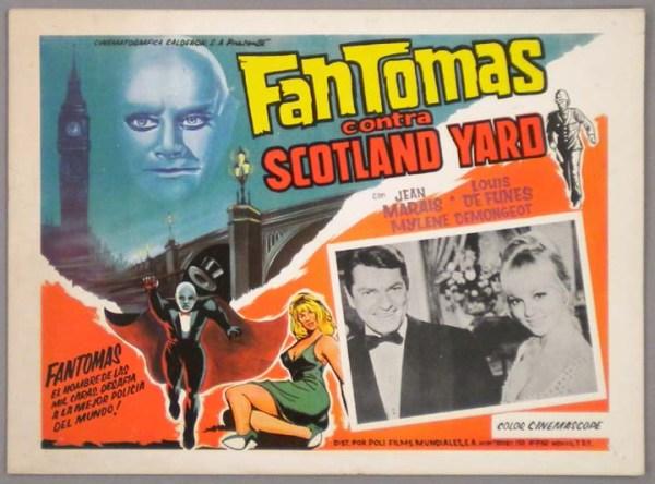 Afişte üstte yer mavi kafa ünlü film kahramanı Fantomas'ın birebir çizimi.