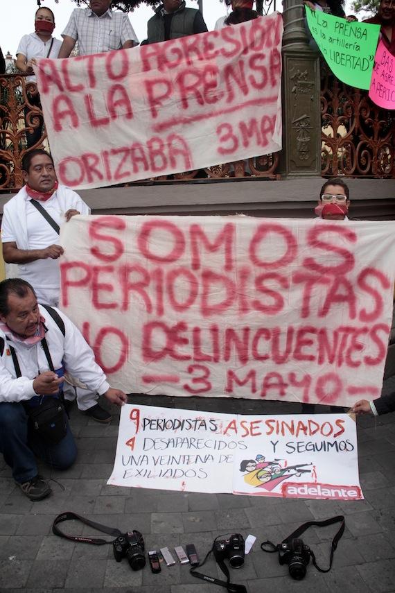 Manifestación en Veracruz por la violencia contra periodistas. Foto: Cuartoscuro