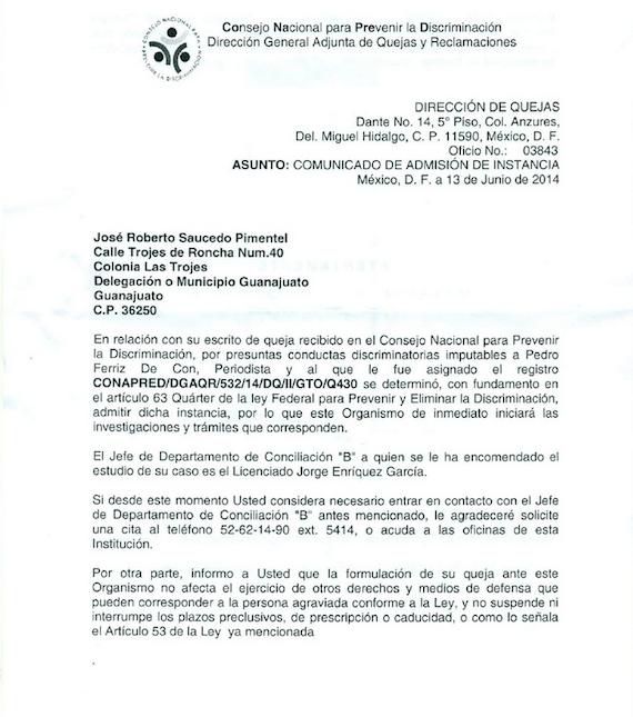 Notificación del Conapred. Imagen: Zona Franca