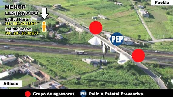 Vista aérea de ubicación del menor, de acuerdo con la PGJ de Puebla.  Foto: Vía Twitter @PGJ_Puebla