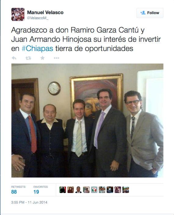 Tuit del Gobernador de Chiapas en el que aparece con el polémico empresario. Foto: Twitter