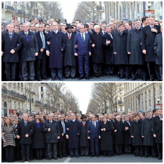 En la imagen original Merkel aparecía tomada del brazo con el presidente francés, François Hollande, pero en la versión de Hamodia el diario la sustituye por el presidente palestino Mahmud Abbas Foto: Especial