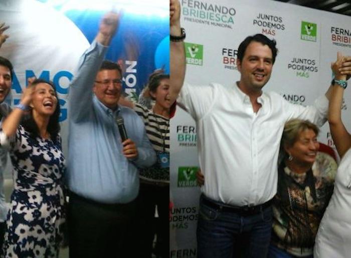 Fernando Bribiesca, candidato de la coalición PRI-PVEM- Panal, se proclamó ganador. Foto: Zona Franca