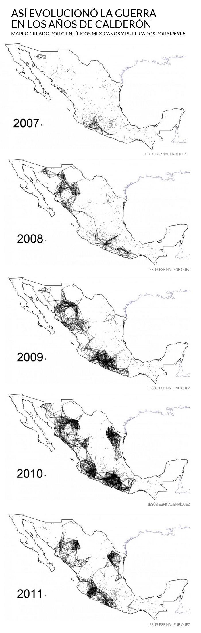El estudio elaborado por dos científicos de la UNAM revela los patrones por los que la violencia se extendió por todo el territorio mexicano entre los años 2007 y el 2011 (último año del que se tienen registros). Foto: Especial