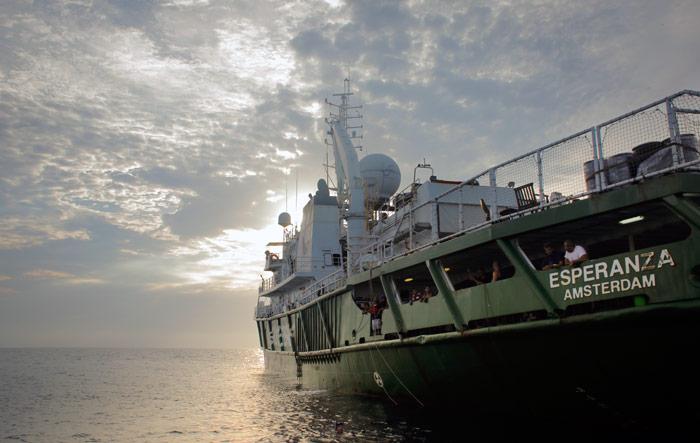 El barco Esperanza, con científicos mexicanos a bordo, en el Mar de Cortés. Foto: Greenpeace, cortesía