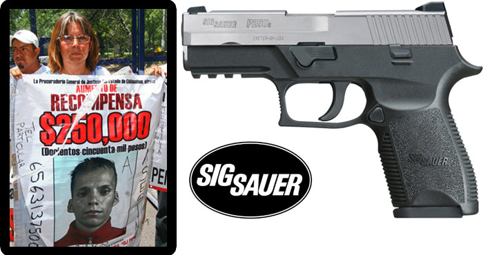 La activista, y la pistola que le quitó la vida. Fotos: Archivo
