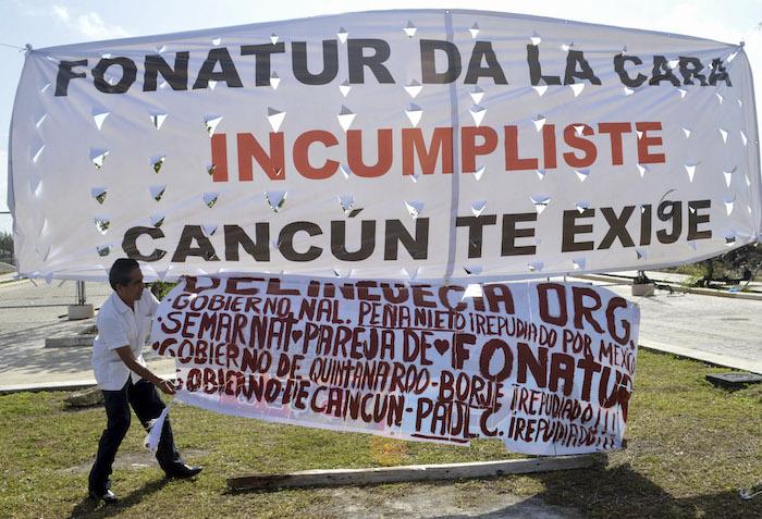Protestas en contra de las obras en Tajamar. Foto: Cuartoscuro
