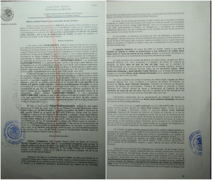 Documentos de la causa penal a los que SinEmbargo tuvo acceso. Foto: especial