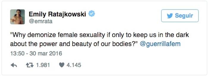 """""""¿Por qué demonizar la sexualidad femenina si no es para mantenernos a oscuras acerca del poder y la belleza de nuestros cuerpos?"""". Foto: Twitter vía @emrata"""