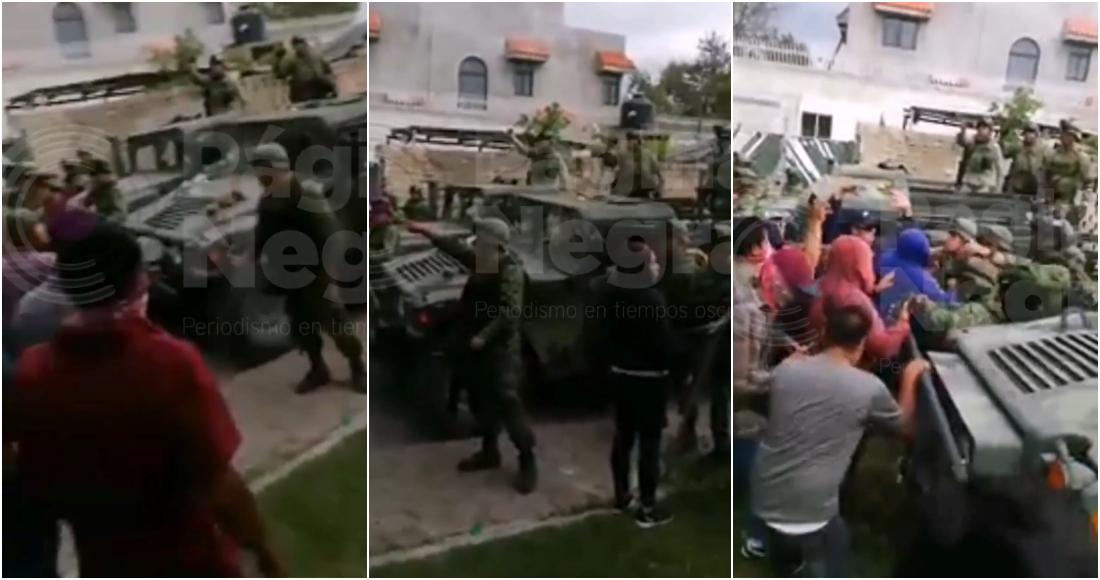 militares atacados - VIDEO: Pobladores de Tlacotepec, Puebla, causan disturbios en comandancia por detención de persona