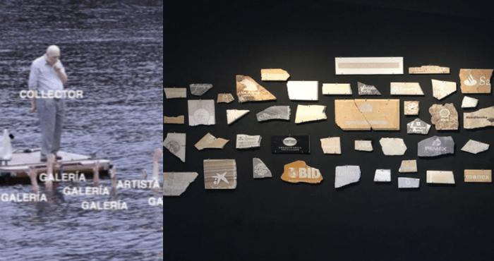 """César Martinez y el """"Capitalismo funerario (fosa común)"""". Instalación con 50 fragmentos de mármoles de diversos tamaños que oscilan entre 10 y 15 cm cada uno."""