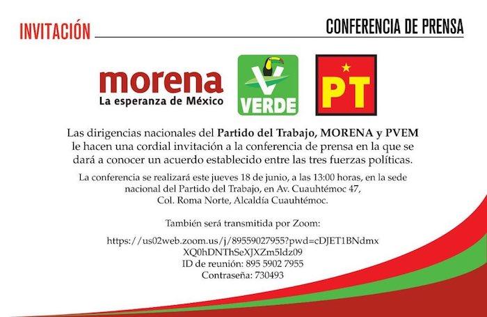 Invitación para la conferencia que ofreció Morena esta tarde.