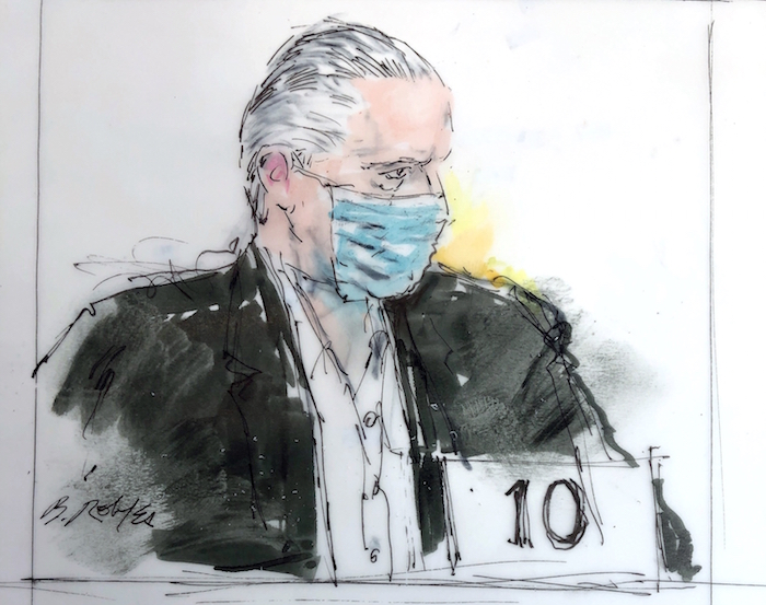 En este boceto de la corte, el exsecretario de la Defensa de México, General Salvador Cienfuegos Zepeda, aparece en la corte federal el viernes 16 de octubre de 2020 en Los Ángeles.