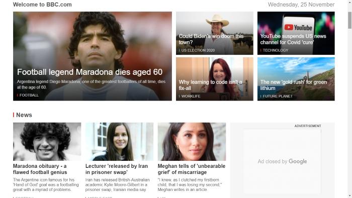 """bbc - La muerte de Maradona, """"la leyenda del futbol"""", acapara las portadas de los medios del mundo"""