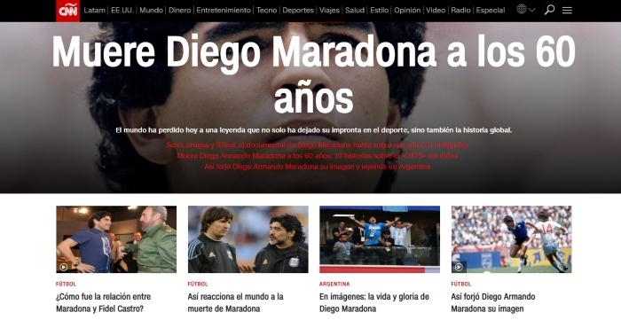 """cnn maradona - La muerte de Maradona, """"la leyenda del futbol"""", acapara las portadas de los medios del mundo"""