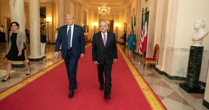 AMLO y Donald Trump en la Casa Blanca.