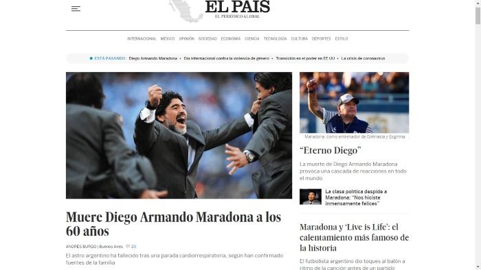 """el pais maradona s - La muerte de Maradona, """"la leyenda del futbol"""", acapara las portadas de los medios del mundo"""