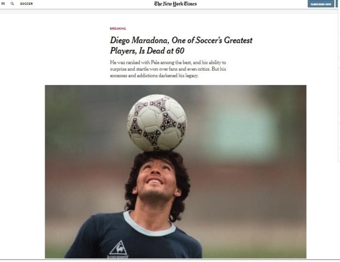 """nyt maradona - La muerte de Maradona, """"la leyenda del futbol"""", acapara las portadas de los medios del mundo"""