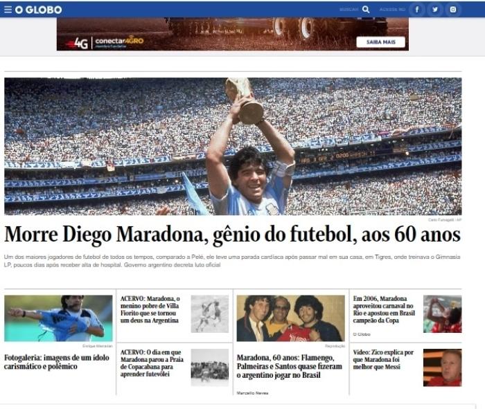 """oglobo maradona - La muerte de Maradona, """"la leyenda del futbol"""", acapara las portadas de los medios del mundo"""